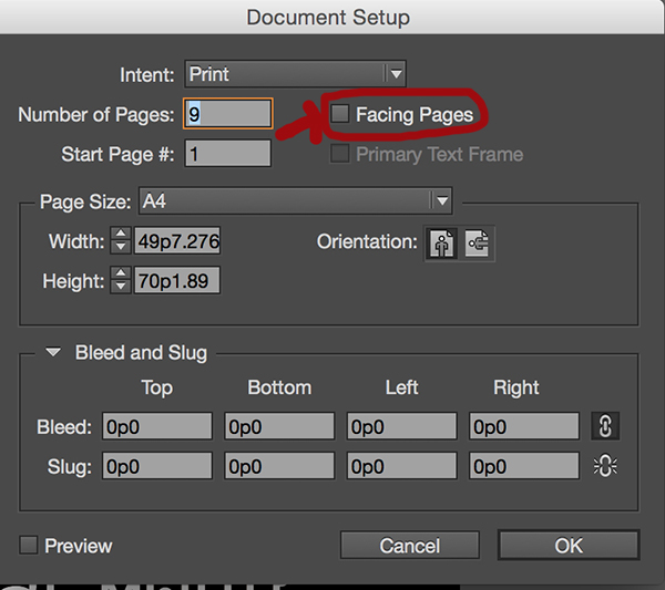 indesign facingpage