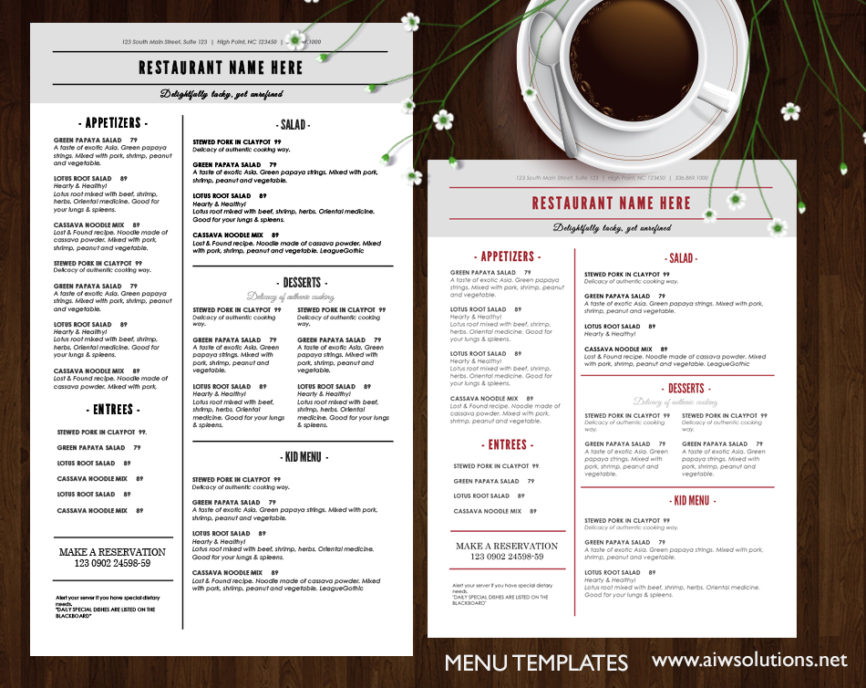 how to edit restaurant menu template knowledge 2 share